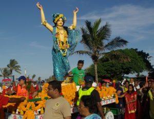 Goddess at Hare Krishna parade in Durban.