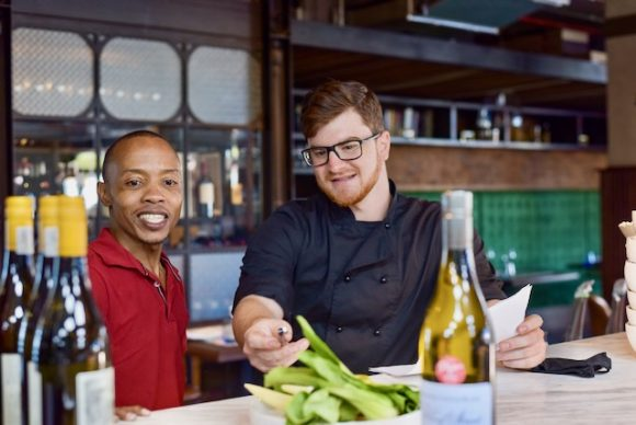 Somm Zwai Gumede, left, with Chef's Table head chef, Mathew Armbruster.